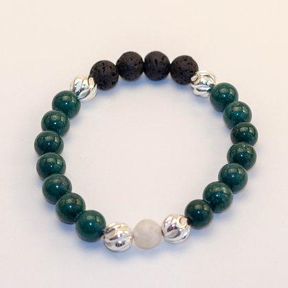 Mountain Jade & Sterling Silver Bracelet