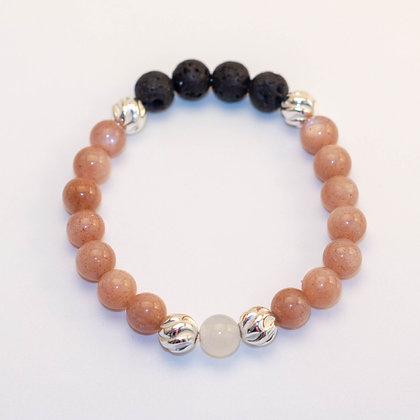 Pink Flake Moonstone & Sterling Silver Bracelet