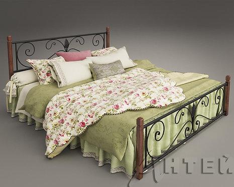 """Кровать металлическая """"Крокус"""" с деревянными ножками"""