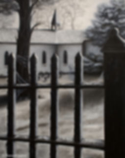 dark art, ghost, ghost of old woman, haunted, church, iron fence, Our Lady of Peace church, Niagara Falls Canada, cemetery, graveyard, Jessica Bianco artist, oil painting