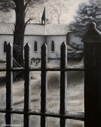 dark art, ghost, old woman, haunted, church, iron fence, Our Lady of Peace church, Niagara Falls Canada, cemetery, graveyard, Jessica Bianco artist, oil painting