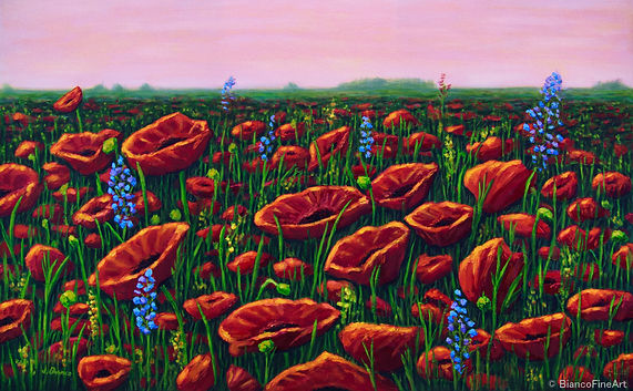 The War Within, Bianco Fine Art, fine art landscape painting, field of flowers, poppies, Flanders Fields, fallen soldiers, Remembrance Day, PTSD, world war i