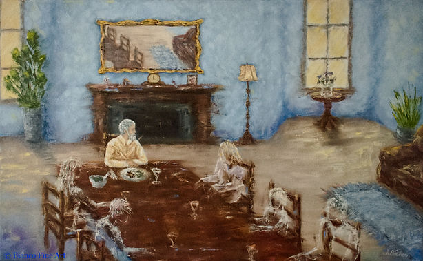 family, dining room table, living room, ghosts, haunted, memory, man eating alone, Jessica Bianco artist, oil painting, abstract realism