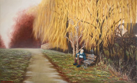 ghost, old man sitting on bench, park, weeping willow trees, oil painting, palette knife painting, Jessica Bianco artist