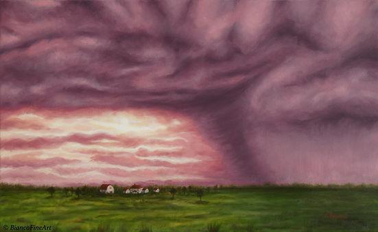 Bianco Fine Art, fine art painting, landscape painting, tornado, farm field, tornado season, Midwest, farm house, Midwestern, house in field