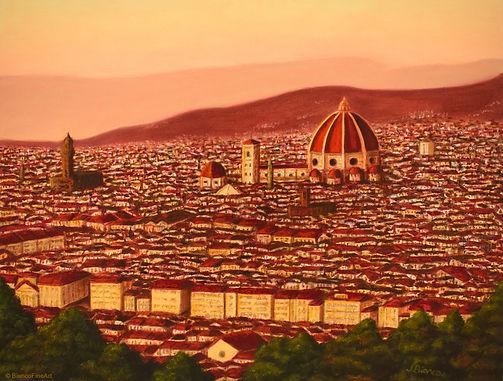 florence, firenze, italy, cityscape, dome, santa maria del fiore, cathedral, alla prima, oil painting, jessica bianco
