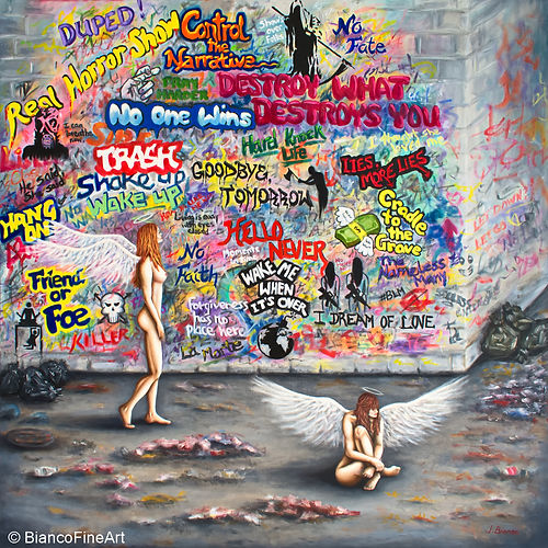 graffiti, political, angels, dirty street, garbage, apocalypse, wall with graffiti, painting, Jessica Bianco