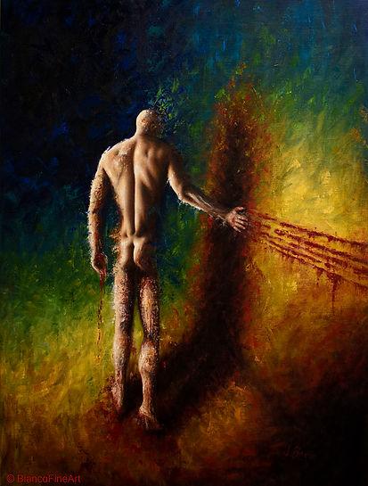 dark art, nude, male, figure, murder, death, human error, contemporary realism, oil painting, Jessica Bianco