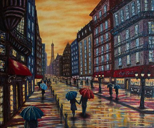 Paris, rain, umbrella, couple, in love, city, scene, jessica bianco, palette knife painting