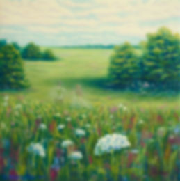 ghosts, bride and groom, field of flowers, oil painting, Jessica Bianco artist