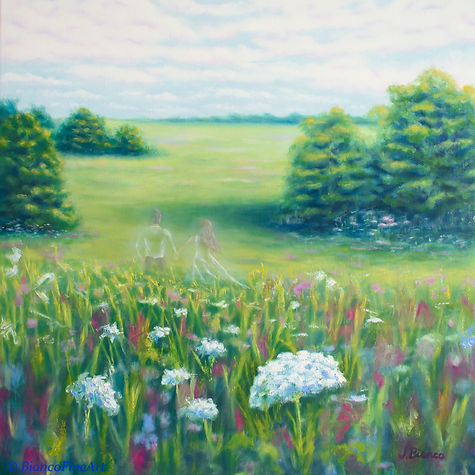 ghosts, spirits, haunted, silhouette, bride and groom, field of flowers, oil painting, Jessica Bianco artist