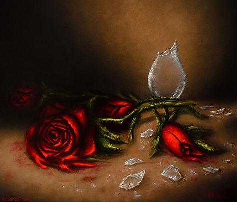roses, red, vase, broken, glass, oil painting, alla prima, jessica bianco, sustainable art, environmentally friendly art