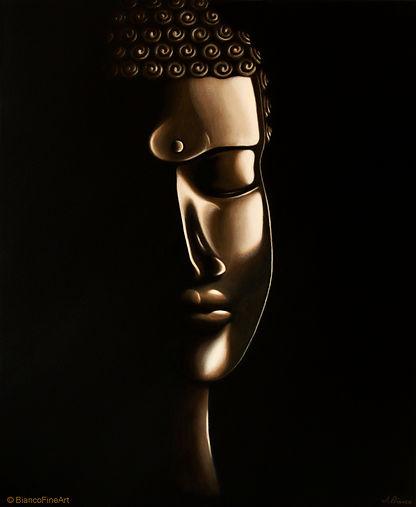 Buddha, buddhist, meditation, spiritual, realism, painting, susainable art, Jessica Bianco artist, fine art