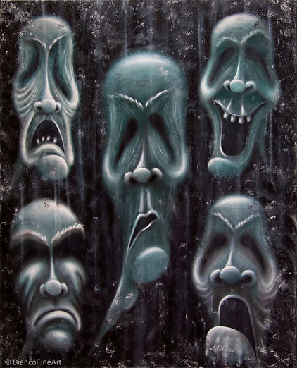 dark art, creepy faces, scary faces, ugly faces, haunted mirror, antique mirror, inner beauty, Jessica Bianco artist