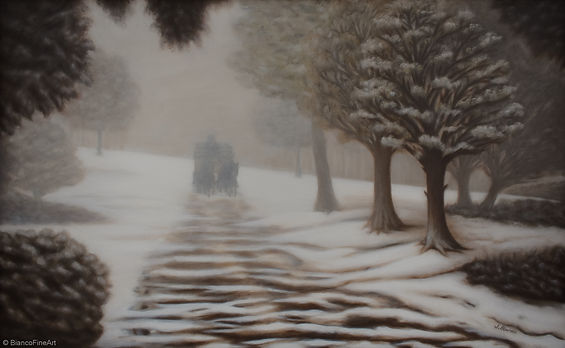 Bianco Fine Art, fine art painting, landscape painting, winter painting, foggy scene, snowy road, early snow, eerie, horse carriage