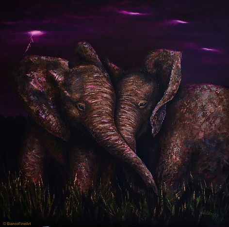baby elephants, african elephant, savanna storm, pink storm, night, lightening, palette knife, painting, Jessica Bianco artist