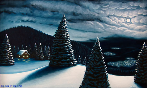 Bianco Fine Art, landscape painting, winter painting, winter night, full moon, mountain top, cloudy night, winter cabin, Germany, winter pine trees