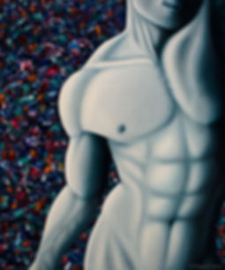 Bianco Fine Art, nude male painting, muscular man, colorful painting, grey, passive nudity, shy nude, handsome man, sexy man, nude male figure