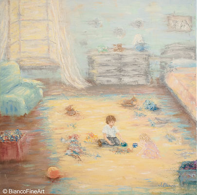 children, bedroom, playing, ghost, haunted, silhouette, imaginary friend, oil painting, Jessica Bianco artist, abstract realism