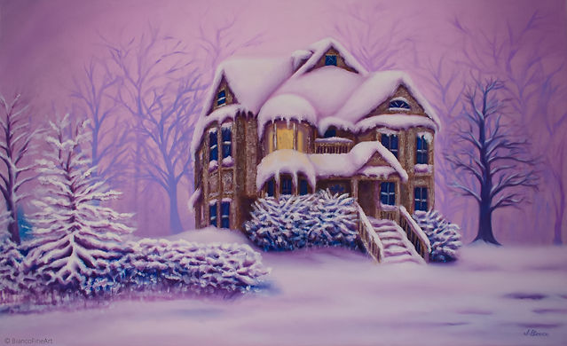 painting, oil, winter, scene, pink snow, victorian house, forest, ghost, sihouette, haunted house, Jessica Bianco