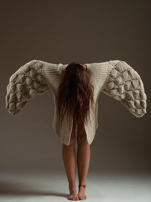 Alpaca's Wool Vest (Oversize-Beige)