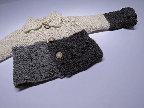 Alpaca's Wool Coat (Beige-Grey-Black)