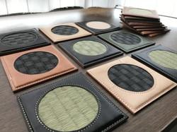 畳表と革のコースター