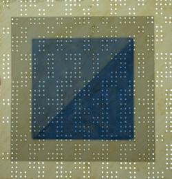 A dark blue square layered upon a dark green square layered upon a lighter green square. The entire