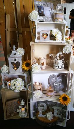 Wooden crates display