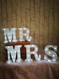 Mr & Mrs mini light up letters