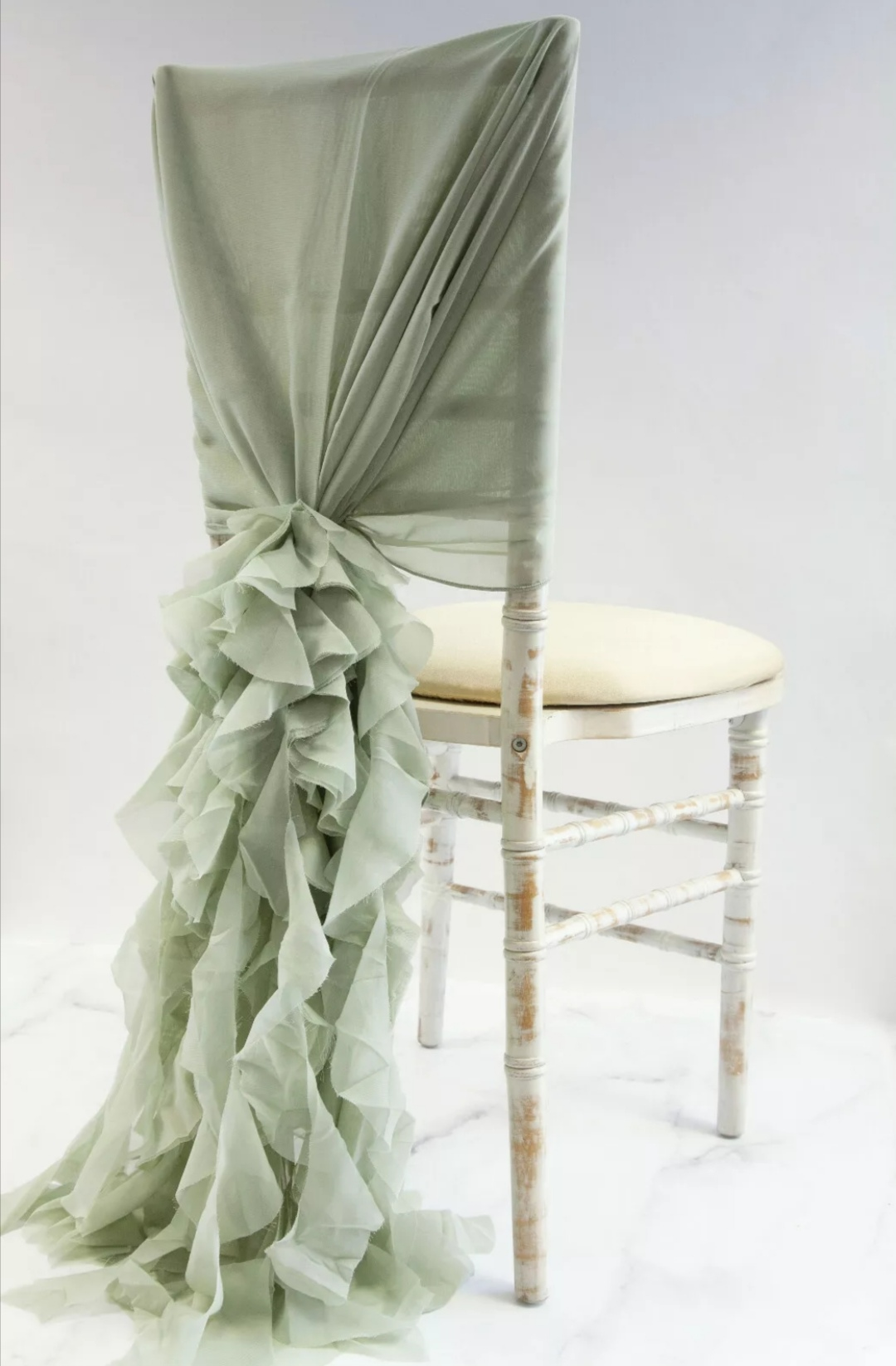 sage ruffle chair hood