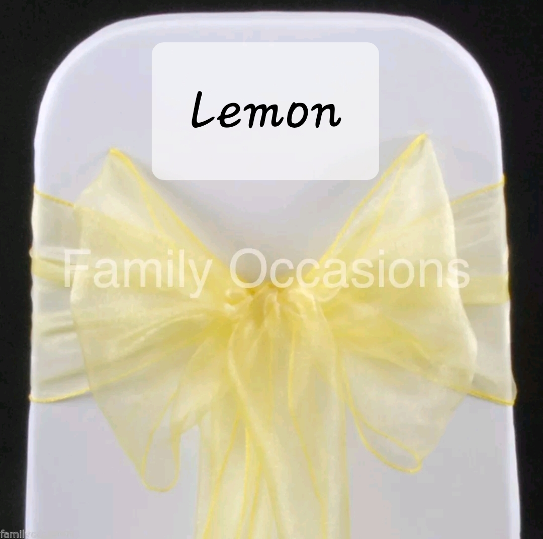 Lemon organza chair sash