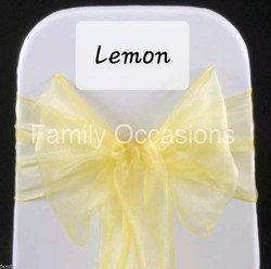 Lemon organza chair sash