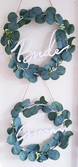 Eucalyptus Bride & Groom hoops