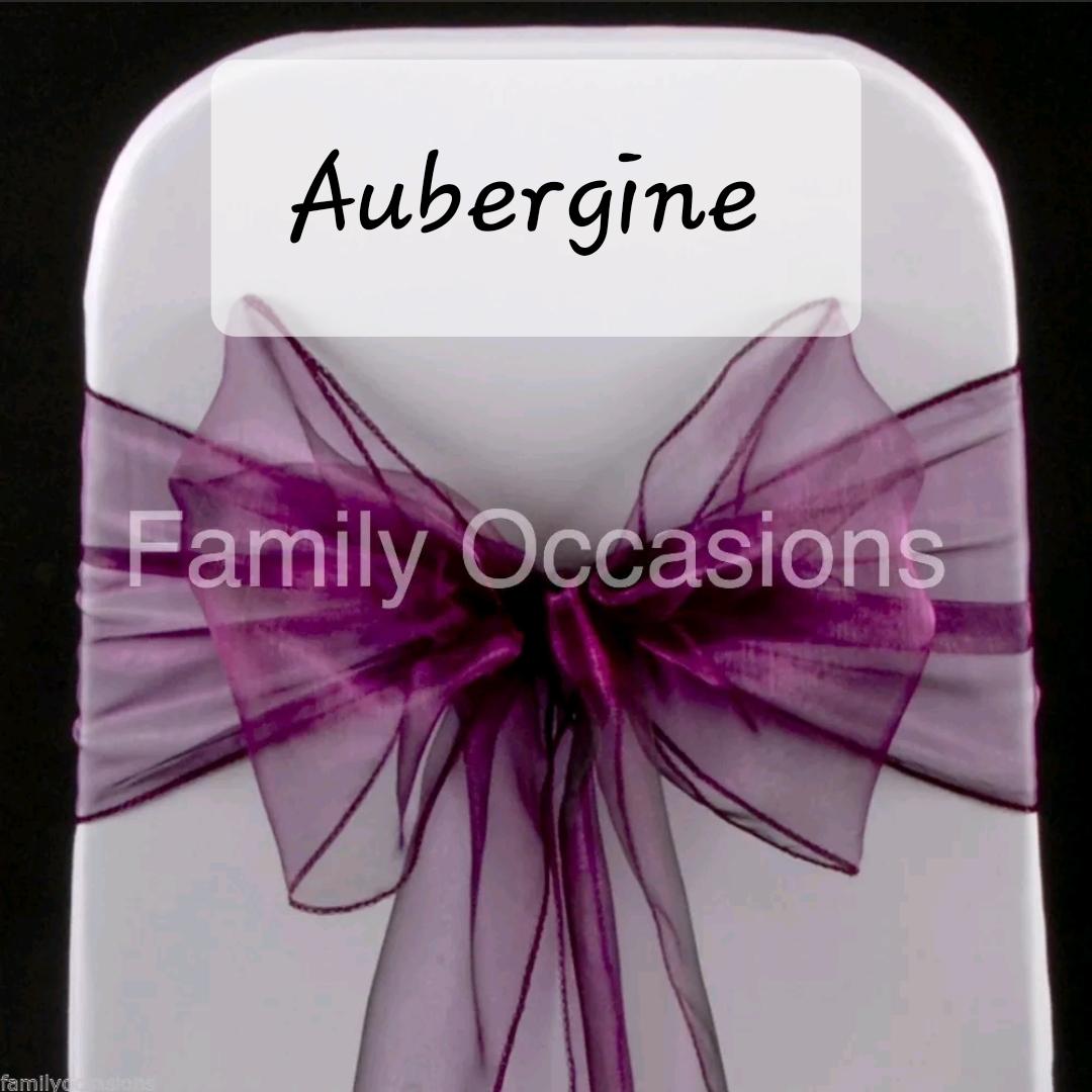 Aubergine organza chair sash