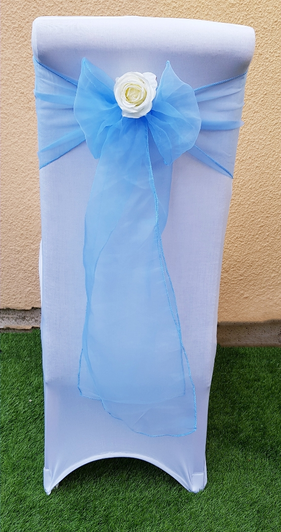 Chair cover with baby blue sash