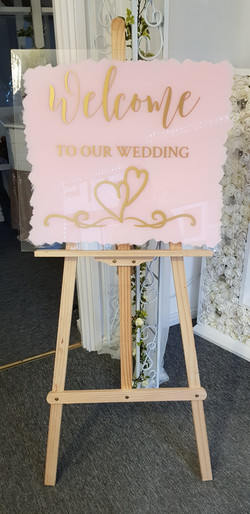Acrylic blush & gold Welcome sign