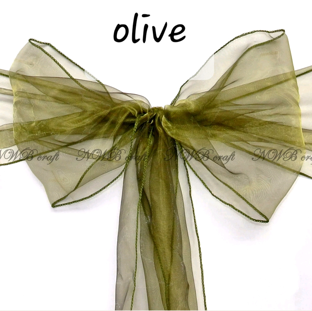 Olive organza chair sash