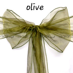 Olive organza chair sash