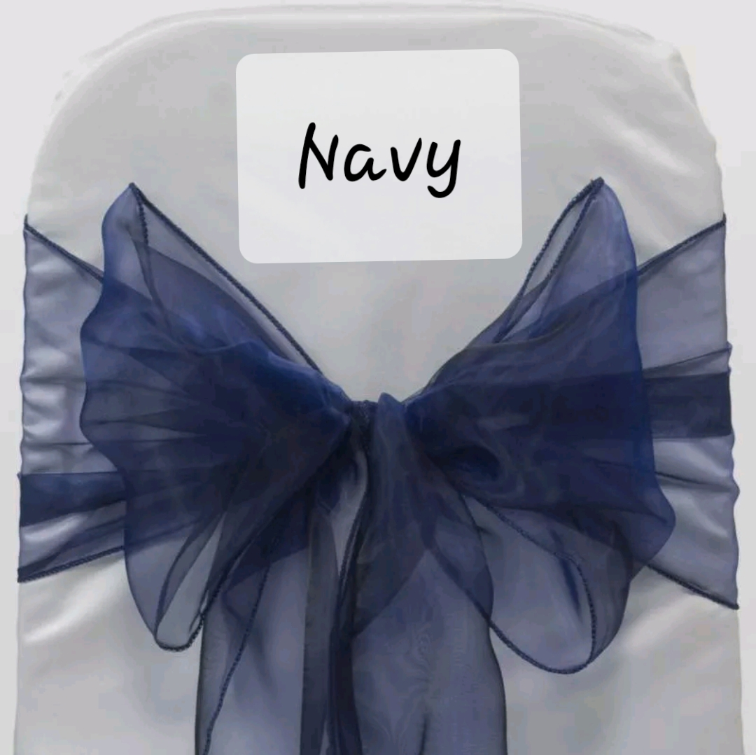 Navy organza chair sash