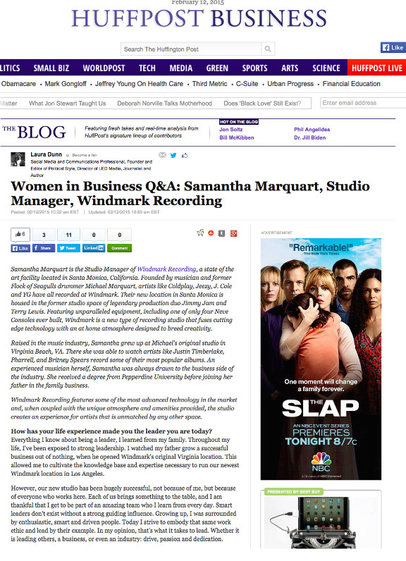Windmark's Studio Manager interviewed in Huffington Post