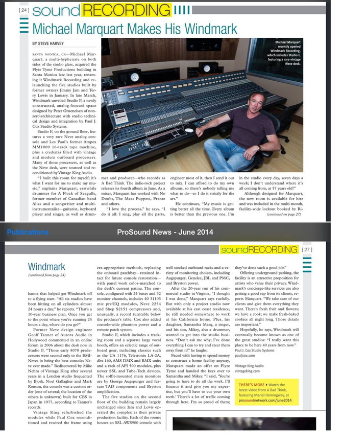 PRO-SOUND NEWS features Windmark