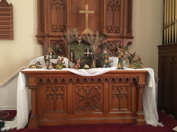 Altar decorated for Christmas