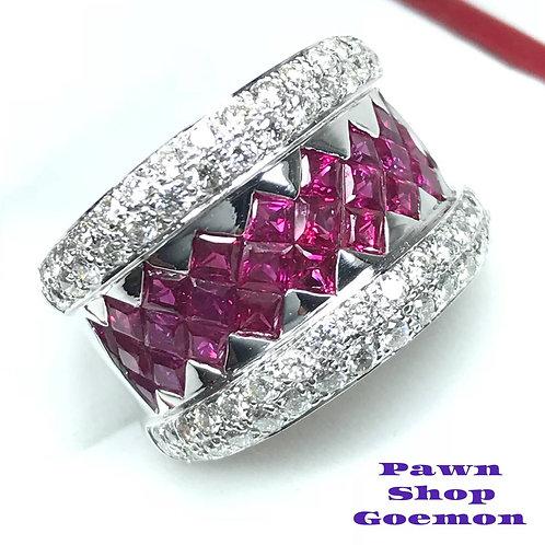ルビー 2.12ct ダイヤモンド WGK18 ゴールドリング 11号