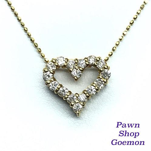 ダイヤモンド0.50ct K18 ハート ネックレス