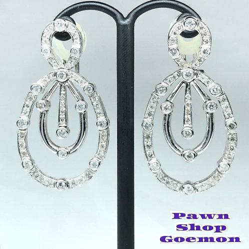 ダイヤモンド 2.00ct WGK18 18金 ホワイトゴールドピアス