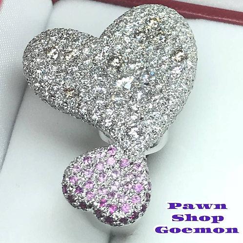ダイヤモンド4.243ct ピンクサファイア0.82ctプラチナリング