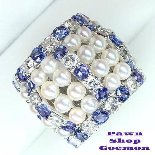 アコヤ真珠 タンザナイト3.44ctダイヤモンド2.45ctPTリング