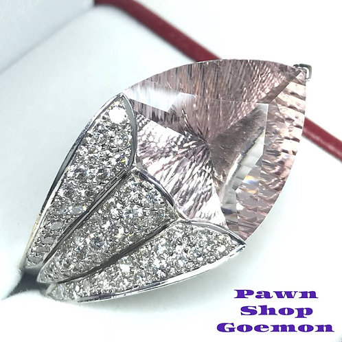モルガナイト14.34ctダイヤモンド ホワイトゴールドリング 14号