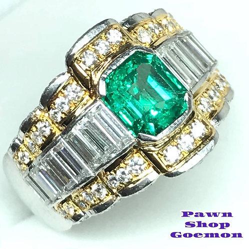 エメラルド1.80ct ダイヤモンド2.70ct プラチナリング
